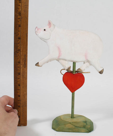 Rustic carved wood pigs table decor home decor for Pig decorations for home