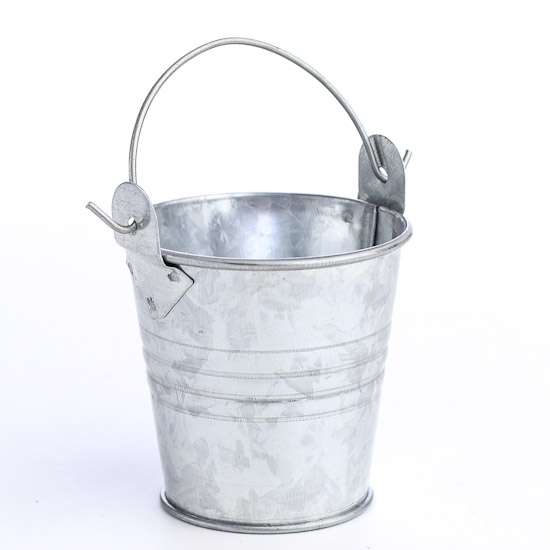 Small galvanized metal pail luau and beach theme party for Tiny metal buckets