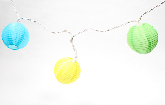 Multicolored Chinese Lantern Bulb and White Cord String Lights - Lighting - Christmas and Winter ...