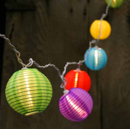 Outdoor String Lights Electric : Multicolored Chinese Lantern Bulb and White Cord String Lights - Lighting - Christmas and Winter ...