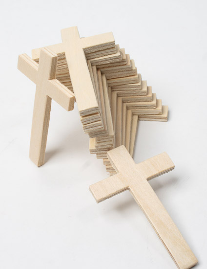 Unfinished wood crosses package of 15 wood cutouts for Wooden craft supplies online