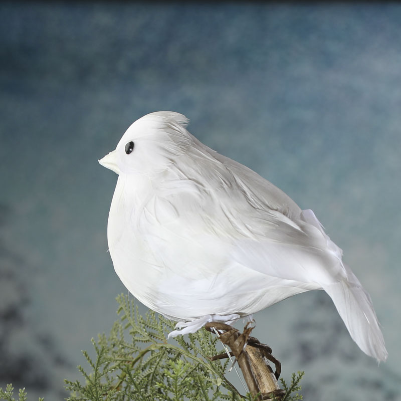 Fat white feathered artificial bird birds butterflies for Feathered birds for crafts