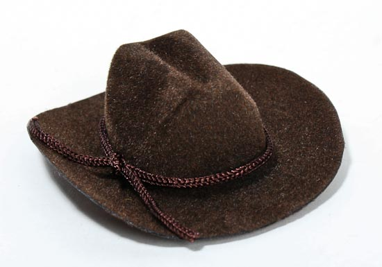 Miniature brown cowboy hat doll hats doll making for Tiny top hats for crafts