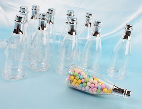 Plastic champagne bottle fillable favors favor boxes and for Empty mini plastic wine bottles
