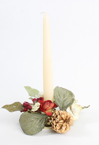 Christmas Heirloom Taper Candle Rings - Holiday Florals ...