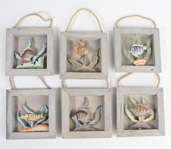 Decorative Rustic Wood Beach Ocean Fish Shadow Box