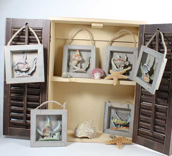 Beach Theme Home Decor Shadow Box Beach Gift: Decorative Rustic Wood Beach Ocean Fish Shadow Box