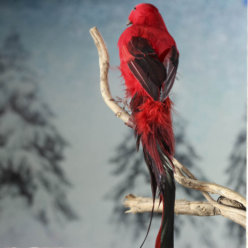 Red feathered artificial bird birds butterflies for Feathered birds for crafts