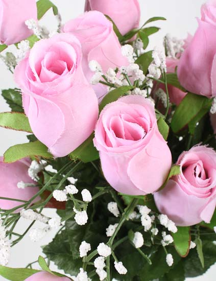 Pink Artificial Rose Bud And Baby S Breath Bush Bushes
