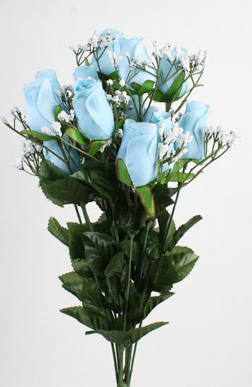 Light Blue Artificial Rose Bud And Baby S Breath Bush