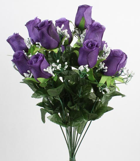 artificial silk purple closed rose bud amp baby s breath