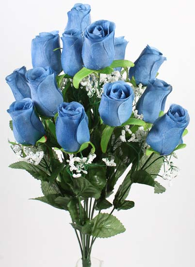 Blue Artificial Rose Bud And Baby S Breath Bush Bushes