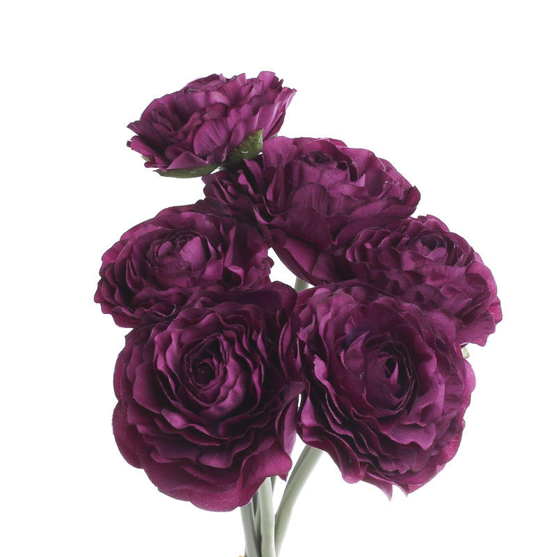 Purple artificial ranunculus bouquet bushes and bouquets