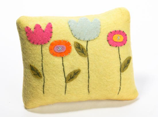 Appliqued and Stitched Felt Flower Small Decorative Pillow