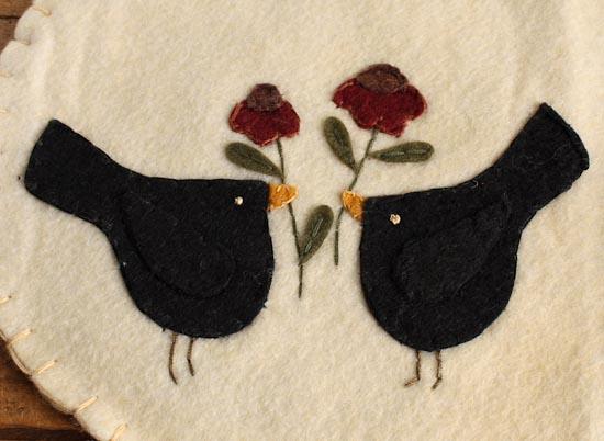 Small Felt Table Runner With Primitive Pair Of Blackbirds