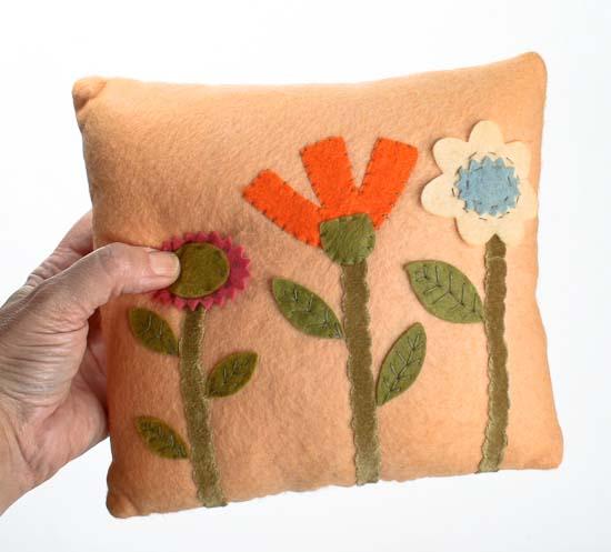 Appliqued Flower Patch Decorative Peach Pillow - Primitive Decor