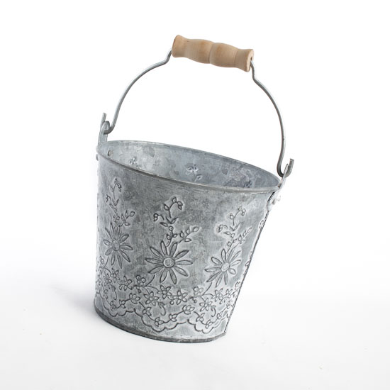 aged look embossed galvanized tin pail decorative