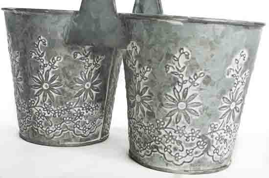 galvanized embossed double flower pot - floral containers - floral supplies
