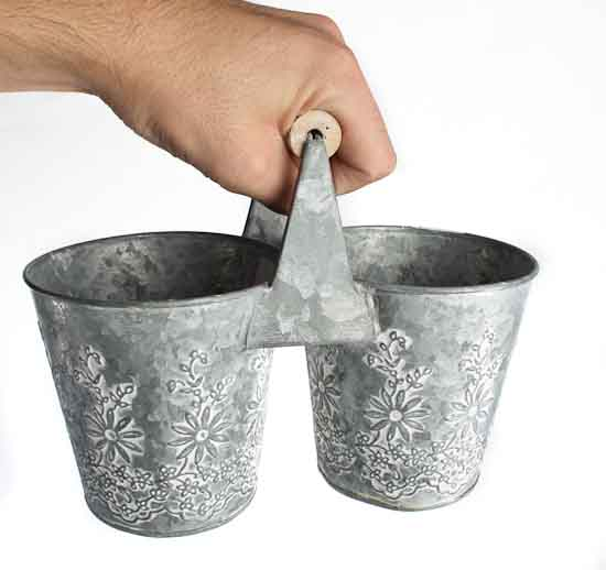 Galvanized Embossed Double Flower Pot