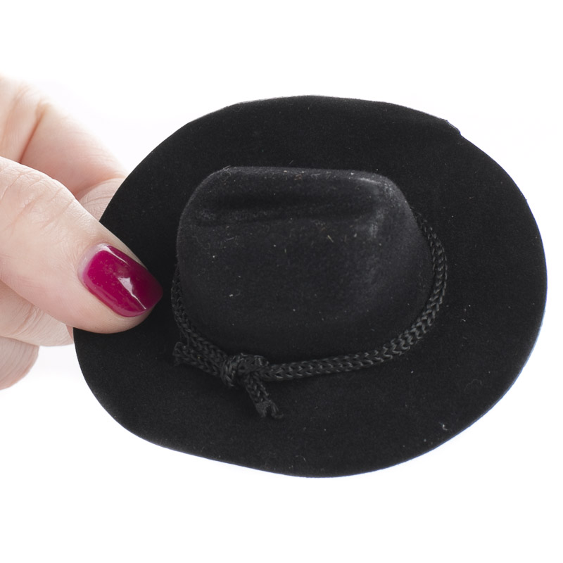 Miniature black flocked cowboy hat doll hats doll for Small cowboy hats for crafts