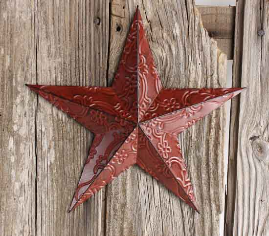 Red Metal Embossed Barn Star - Barn Stars - Primitive Decor