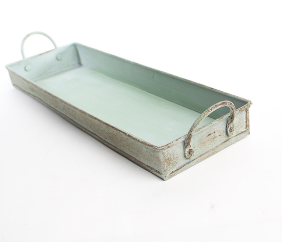 "11"" Rectangular Distressed Metal Tray with Handles ..."