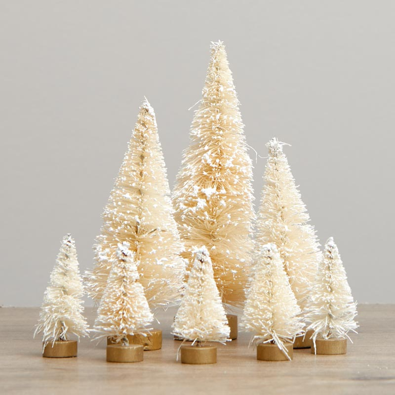 Dollhouse Miniature Christmas Holiday Eight Piece Pink Frosted Sisal Trees