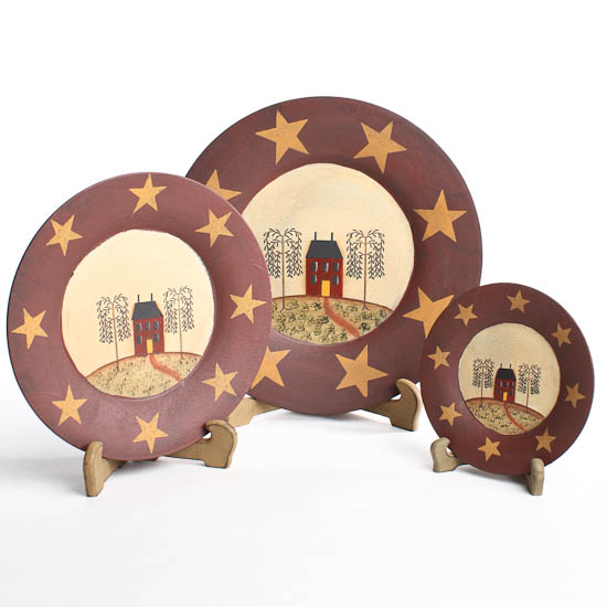 Item# YE036 Set of 3 primitive wooden ...  sc 1 st  Factory Direct Craft & Set of 3 Primitive Wooden Saltbox House and Stars Plates ...
