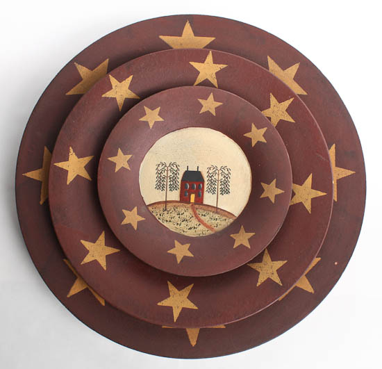 Click Here For A Larger View  sc 1 st  Factory Direct Craft & Set of 3 Primitive Wooden Saltbox House and Stars Plates ...