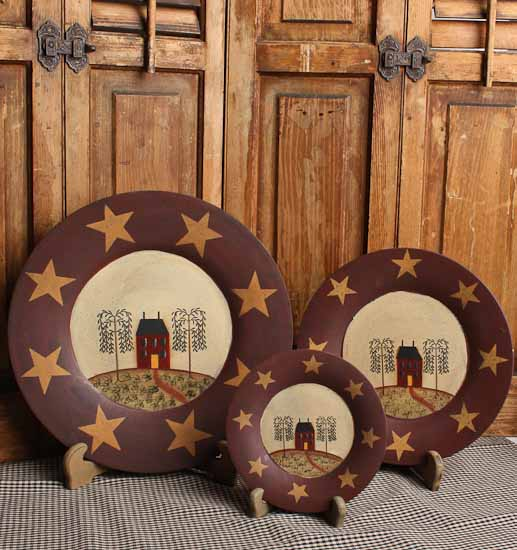 Click Here For A Larger View & Set of 3 Primitive Wooden Saltbox House and Stars Plates ...