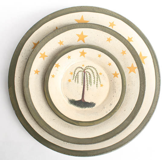 Click Here For A Larger View  sc 1 st  Factory Direct Craft & Set of 3 Primitive Wooden Willow Tree and Stars Plates - Decorative ...