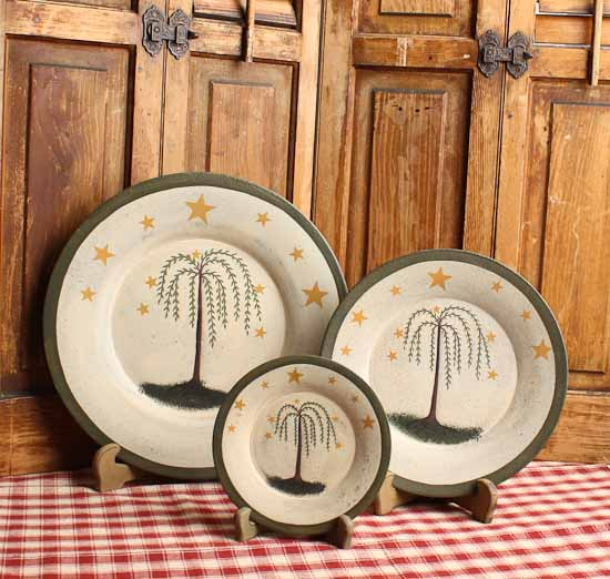 Click Here For A Larger View & Set of 3 Primitive Wooden Willow Tree and Stars Plates - Decorative ...