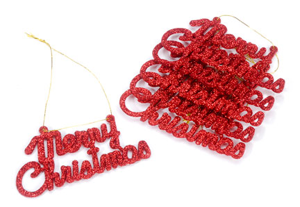 """red glittered """"merry christmas"""" ornaments - christmas ornaments"""