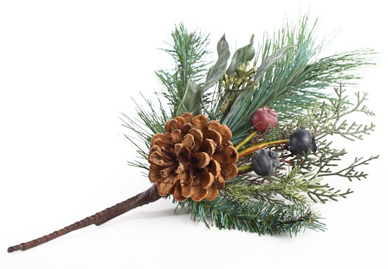 "12"" Artificial Holiday Greenery, Berries And Pine Cone"