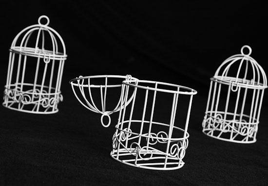 Set of 12 Small White Wire Bird Cages - Birds & Butterflies - Basic Craft Supplies - Craft Supplies