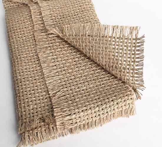 Natural designer burlap fabric table runner textiles and for Decorative burlap fabric