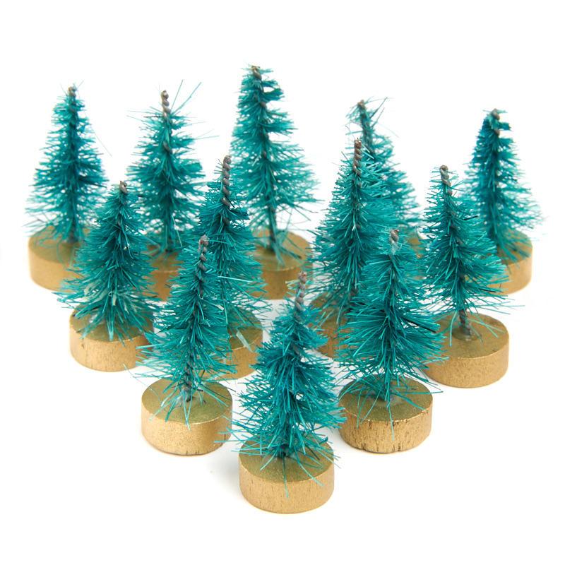 Miniature green bottle brush trees christmas miniatures for Miniature christmas trees for crafts