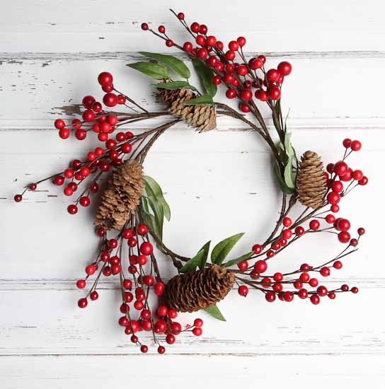 Artificial cranberries and pinecones wreath holiday for Artificial cranberries decoration