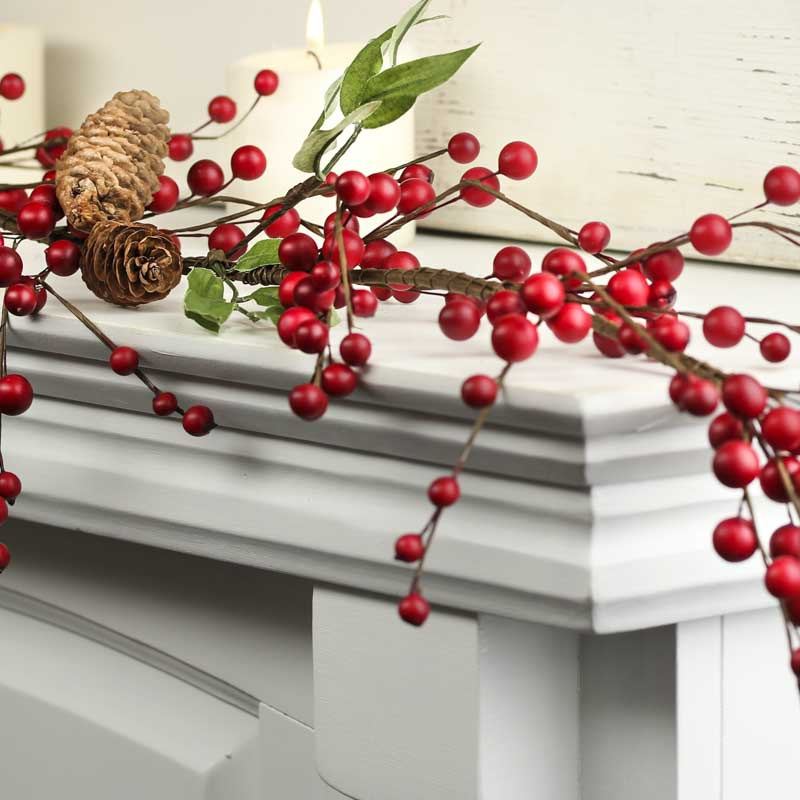 Artificial cranberry and pinecone garland christmas for Artificial cranberries decoration