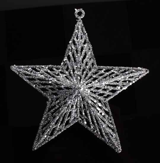 Silver glitter star ornaments christmas