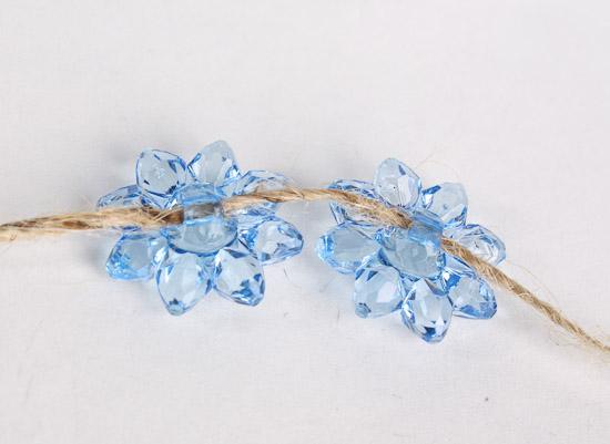 Blue Acrylic Flower Beads - Beads