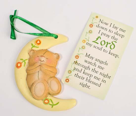 Now I Lay Me Down To Sleep Bear Moon Ornament With Prayer Card