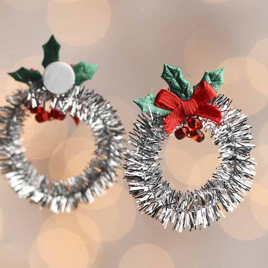 Miniature silver tinsel christmas wreaths christmas for Craft wreaths for sale