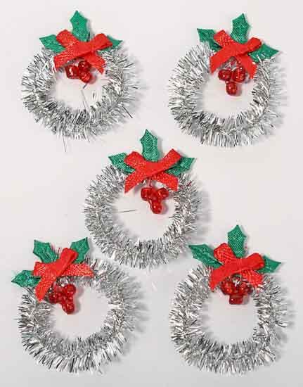 Mini Silver Tinsel Christmas Wreaths