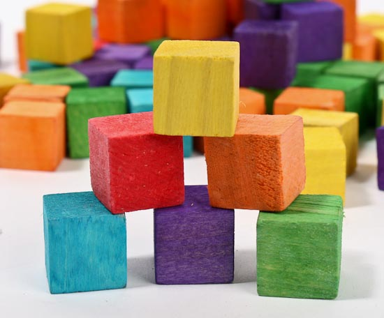 Wooden Blocks For Crafts ~ Colorful wooden blocks cubes unfinished wood