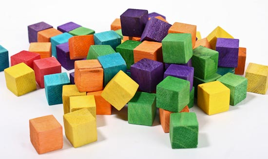 Colorful wooden blocks cubes unfinished wood