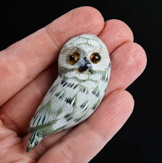 Small wood carved owl magnet craft supplies sale sales