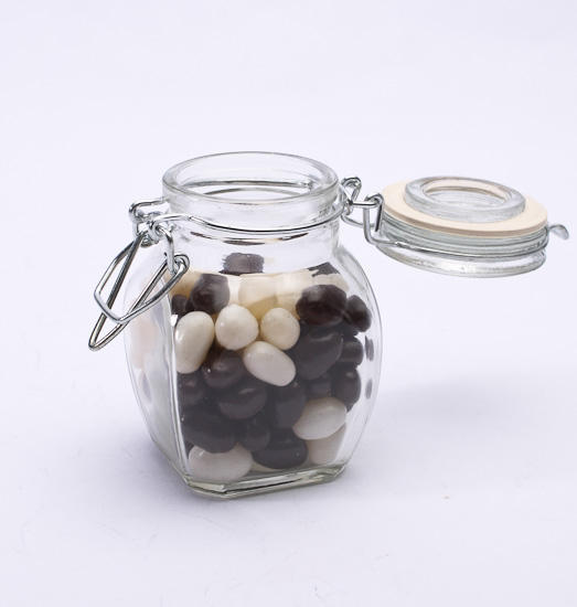 hinged lid glass favor jars decorative containers. Black Bedroom Furniture Sets. Home Design Ideas