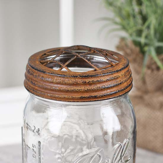 rusty tin wide mouth flower frog mason jar lid jar lids basic craft supplies craft supplies. Black Bedroom Furniture Sets. Home Design Ideas