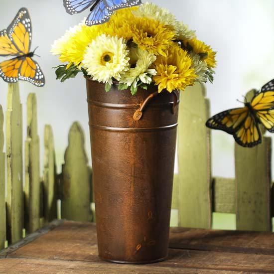 Rusty Tin French Flower Bucket Baskets Buckets Boxes Home Decor